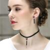 Lelady Harajuku tassel Choker velvet necklace Crystal collarbone neck chain flower choker velvet necklace