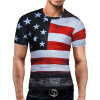 Male 2017 Brand Short Sleeve American Flag 3D Digital Print T Shirt O-Neck Slim Men T-Shirt Tops Fashion Mens Tee Shirt T Shirts