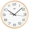 Wooden Wall Clock Quiet Silent Sweep Wooden Clock Modern Brief Fashion Concise Clock 12.6 Inch Large Number Display Wall Clock