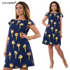 COCOEPPS Flower Print Женщины Модные платья Повседневные Плюс Размер Летние женские шифоновые платья O-Neck Платья