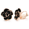 Yoursfs 18K Gold Plated Black Rose Flower Stud Earrings 15mm dainty Rose Post Stud Earrings For woman euroschirm dainty black