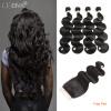 HCDIVA 4 связки с закрытием Body Wave бразильские волосы сотка с пучком с закрытием Free Part Natural Black No Tangle Бесплатная доставка нитрофоска сотка пакет 1кг