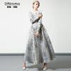 DF · RS Осень и зима длинный раздел цветочные большое платье 2017 новый с длинными рукавами Тонкий темперамент длинная юбка женска