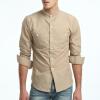 Модная мужская рубашка с длинными рукавами Топы Британская подставка с длинными рукавами Молодые сплошные рубашки мужские рубашки Футболка Slim Men Shirt