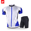 NUCKILY Men's summer bicycle apperal long distance ride gel pad shorts and polyeater jersey set