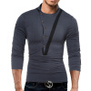 Male 2017 Brand Long Sleeve Button Stitch T Shirt Collar Slim Men T-Shirt Tops Fashion Mens Tee Shirt T Shirts XXXL WJIGY