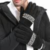 Yu Zhaolin (YUZHAOLIN) кожаные перчатки мужчины зима теплая езда плюс бархатная поездка зимний ветер сенсорный экран мужской кожаный шов толстый черный и белый раздел теплая пижама yu zhaolin