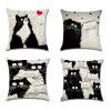 Смазливая черная белая кошка Спрятанная застежка -молния замка Софе Спальня Подушка Чехол Чехол Подушка футболка белая кошка мелисса lisa