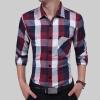 Brand 2017 Fashion Male Shirt Long-Sleeves Tops Casual Lattice Business Mens Dress Shirts Slim Men Shirt 3XL