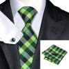 n-0406 Vogue мужчин шелковым галстуком установили зеленый плед галстук платок запонки набор связей для мужчин официальный свадебный бизнес оптом оптом крепление для авторегистратора