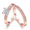 Синий Кристалл Блестящие ювелирные изделия Простой дизайн с белым кубическим цирконием Розовое золото Позолоченные кольца для женщ