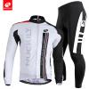 NUCKILY Мужская весна / осень спортивная одежда простой дизайн длинный рукав велосипед трикотаж и плотный набор