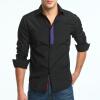 Brand 2017 Fashion Male Shirt Long-Sleeves Tops Personalized Ribbon Stitching Casual Shirt Mens Dress Shirts Slim Men Shirt