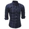 Brand 2017 Fashion Male Shirt Long-Sleeves Tops Classic Plaid Mens Dress Shirts Slim Men Shirt 2XL DFGG