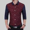 2017 Men'S Fashion Men Shirt Fashion Moon Stitching Leisure Slim Square Collar Long-Sleeved Shirt Single-Breasted Shirt