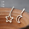 Luo Linglong s925 sterling silver moon earrings earrings anti-allergy simple temperament personality fresh retro handmade original luo linglong s925 sterling silver necklace pendant butterfly necklace jewelry anti allergic simple temperament personality fresh