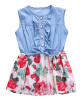 возраст детей, девочек 0-7y летнее платье принцессы - участник деним цветок туту платья