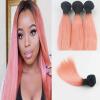 Hot new Hair Ombre Color T1B Pink 3Pcs/Lot Brazilian Virgin Hair Full Set Hair Wefts Extensions Free Shipping ombre 3 tone virgin hair cheap 7a extensions brazilian virgin hair t1b 4 27
