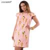 COCOEPPS Flower Print Женщины Модные платья Повседневные Плюс Размер Летние женские шифоновые платья O-Neck Платья летние платья