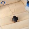 цена на Four-leaf blade grass necklace female  black Korean jewelry trade fashion accessories titanium steel rose gold short box chain