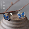 Luo Linglong s925 sterling silver blue butterfly earrings earrings anti-allergy simple temperament personality fresh retro handmad luo linglong s925 sterling silver necklace pendant butterfly necklace jewelry anti allergic simple temperament personality fresh