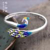 s999 pure silver bracelet female cloisonne blue peacock retro temperament national wind birthday gift to send mother girlfriend cap eu to send carp