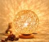 BOKT Минималистская новинка Романтическая массивная деревянная настольная лампа для спальни Настольная лампа для спальни Спальня Настольный светильник из ротанга Мягкий лак (Лен) настольная лампа kolarz anfora 0415 71m ch