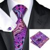 Н-0638 моде мужчины Шелковый галстук набор фиолетовый Пейсли галстук платок Запонки набор галстуков для мужчин формальных Свадебный бизнес оптом оптом крепление для авторегистратора