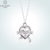 Lelady Crystal pendant Heart-shaped necklace Collarbone chain pendant letter j heart collarbone pendant necklace