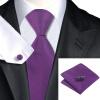 Н-0860 моде мужчины Шелковый галстук набор галстук Запонки платок фиолетовый сплошной набор галстуков для мужчин формальных Свадебный бизнес оптом 0860 1 3 58