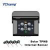 YChamp TPMS 2.4-дюймовый TFT-дисплей внутреннего беспроводного автомобильного монитора давления в шинах Зарядка солнечной энергии