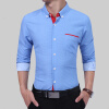 2017 Men'S Fashion Men Shirt British Fashion Wave Point Slim Square Collar Long-Sleeved Shirt Single Large Size 4XL цена и фото
