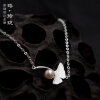 Luo Linglong s925 sterling silver ginkgo pearl bracelet simple personality temperament retro birthday Valentine's Day gift origina luo linglong s925 sterling silver necklace pendant butterfly necklace jewelry anti allergic simple temperament personality fresh