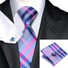 n-0467 Vogue мужчин шелковым галстуком набор plaids & проверить галстук платок запонки набор связей для мужчин официальный свадебный бизнес оптом жидкое стекло где оптом
