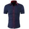 Мода Мужская Гавайская рубашка Короткие рукава Топы Двойной воротник кнопки дизайн Мужская рубашка платья Slim Men Shirt 2XL