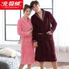 Бейджи Ронг BJRSP с длинными рукавами фланелевой пижамы обслуживание на дому утолщение мужской халат пару пижам жа осенью и зимой верхняя одежда классический малиновый халат B541101812 M L