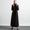 DF · RSЧерное шерстяное пальто 2017 осенне-зимнее новое длинное сечение Тонкое простое шерстяное пальто женская