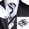 Н-1081 моде мужчины Шелковый галстук набор галстук Запонки платок черный Новинка набор галстуков для мужчин формальных Свадебный бизнес оптом
