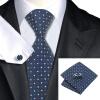 Н-0960 моде мужчины Шелковый галстук набор галстук Запонки платок синий Новинка набор галстуков для мужчин формальных Свадебный бизнес оптом 90131 0960 headers
