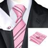 Н-0295 моде мужчины Шелковый галстук набор галстук платок Запонки комплект розовый в полоску мужские галстуки формальный Свадебный бизнес оптом галстуки