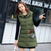 2017 осень и зима новые перья хлопка жилет женщин в длинный жилет корейской версии цвета с капюшоном куртки куртки куртки куртки