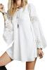 Lovaru ™Женщина Летнее платье 2015 Белый Кружевное платье с длинными рукавами Solid выдалбливают Новый Мини платья Мода чистой и свежей платье maurini платья и сарафаны приталенные