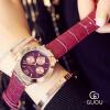GUOU Классические Календарь часы Женщины Роскошные неподдельные кожаные кварцевые часы Случайные часы