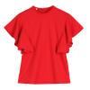 Волк (canis@новая мода женская летом шифон оборками рукава блузки топы футболки