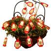 UpperX 20 LED Red Lantern Mini Kerosene String Lights For Patio Garden Holiday Home Decorations Warm white light
