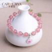 Carweaiya pulsera de cristal de fresa con Pandora estilo colgantes damas pulseras amor piedra amor para siempre