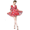 2018 New Summer V-Neck Bob Print Knee-Length Polyester Dress With Butterfly Sleeve Tulle Dresses For Ladies