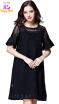 L XL XXL 3XL 4XL 5XL plus size office lace new summer 2018 dress women short sleeve large size black flower loose elegant midi