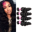 YS HAIR Peruvian Virgin Hair Loose Wave Hair Weave 4 Bundles Unprocessed Loose Wave Human Hair Weave Natural Black