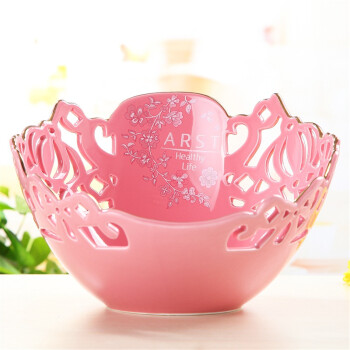 Ya Cheng Tak arst ceramic fashion creative Wei Liya hand hollow hollow living room fruit plate large fruit pot 10 inches